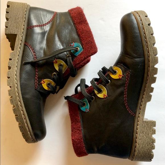 Rieker Shoes   Lace Up Black Ankle